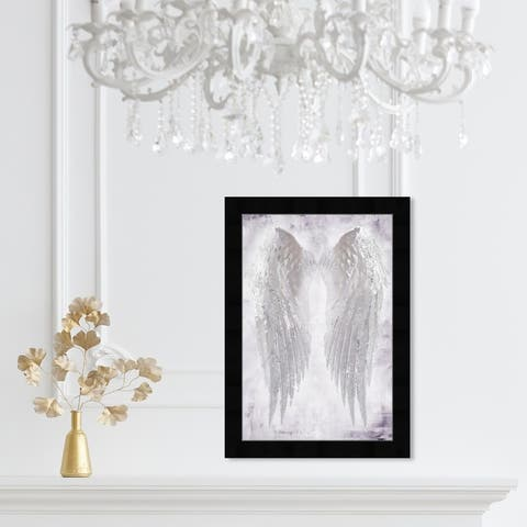 Oliver Gal 'Wings of Angel Amethyst' Fashion and Glam Framed Wall Art Prints Wings - White, White
