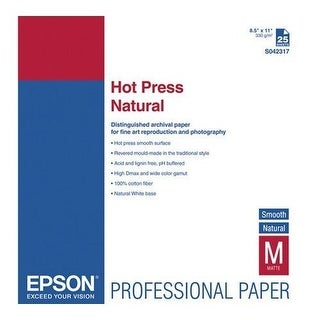 Epson Paper - Hot Press Natural - 8.5x11 25 Sheets - White