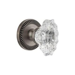 "Grandeur NEWBIA_PRV_238  Newport Solid Brass Rose Privacy Door Knob Set with Biarritz Crystal Knob and 2-3/8"" Backset"