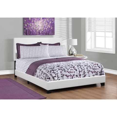 Offex Queen Size Contemporary Bed - White Leather-Look