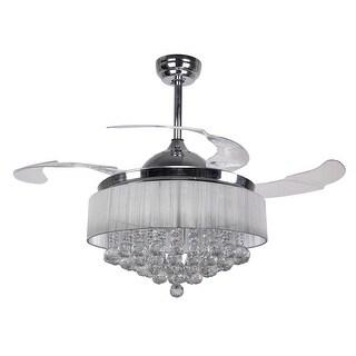 2700K Warm Light 4-Blades Chrome 42.5-inch Crystal Ceiling Fan