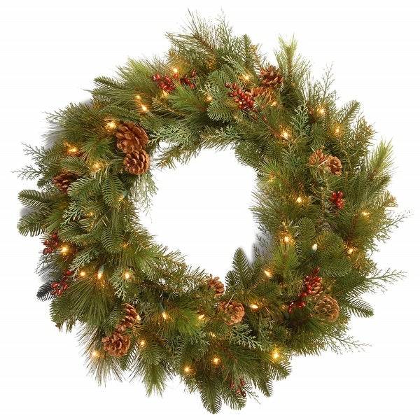 Shop Pre-Lit Decorative Noble Mixed Artificial Christmas Wreath - 30-Inch, LED Lights Battery Operated - N/A - Free Shipping Today - Overstock - 22627856