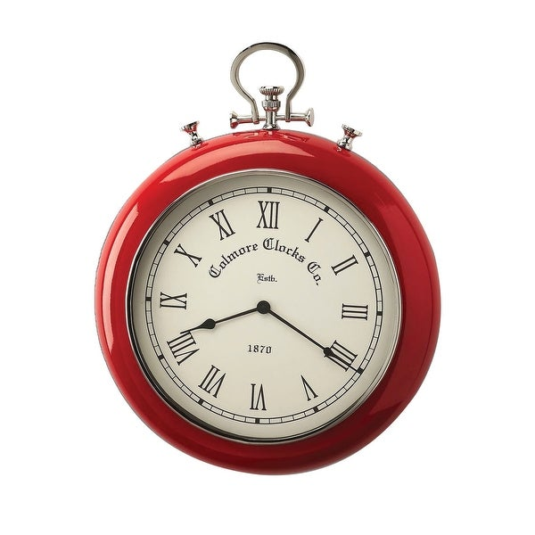 Offex Modern Round Scarlet Red and Nickel Finish Wall Clock - Red