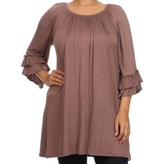 Women Plus Size Half Sleeve Solid Off Shoulder Casual Tunic Top Dress Brown
