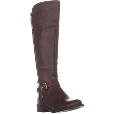 G By Guess Harson5 Wide Calf Knee High Boots, Dark Brown