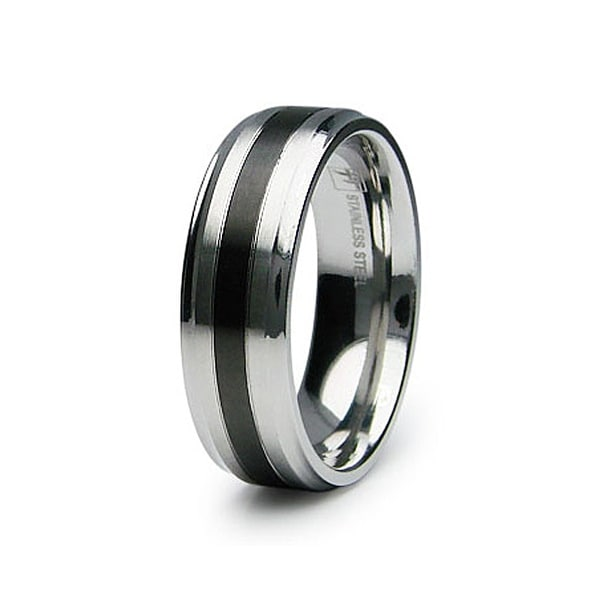 Polished Stainless Steel Ring with Black Plated Center (Sizes 9-12)