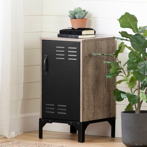 Valet Industrial Weathered Oak and Black End Table with Metal Door - 1-Drawer