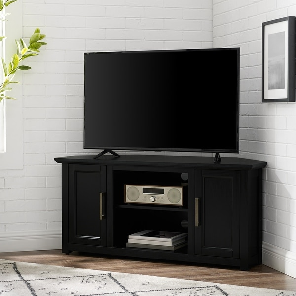 """Camden 48"""" Corner Tv Stand Black - 47.75 W x 20 D x 22 H - 47.75 W x 20 D x 22 H. Opens flyout."""