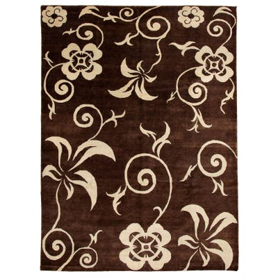 Hand-knotted Zen Brown Wool Rug