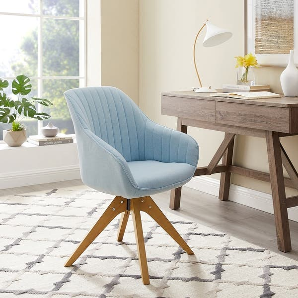 Modern Home Office Swivel Arm Accent Chair With Wood Legs Overstock 29824145