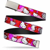 Blank Chrome Bo Buckle Hello Kitty Pink Red Bowtie Webbing Web Belt