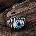 Vienna Jewelry Singular Eyeball Stainless Steel Ring - Thumbnail 2