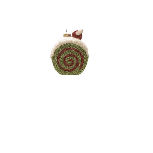 "3.25"" Merry & Bright Green, White and Red Glittered Shatterproof Cake Slice Christmas Ornament"