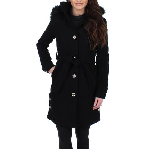 Ivanka Trump Women's Wool Blend Faux Fur Trim Hooded Midi Coat