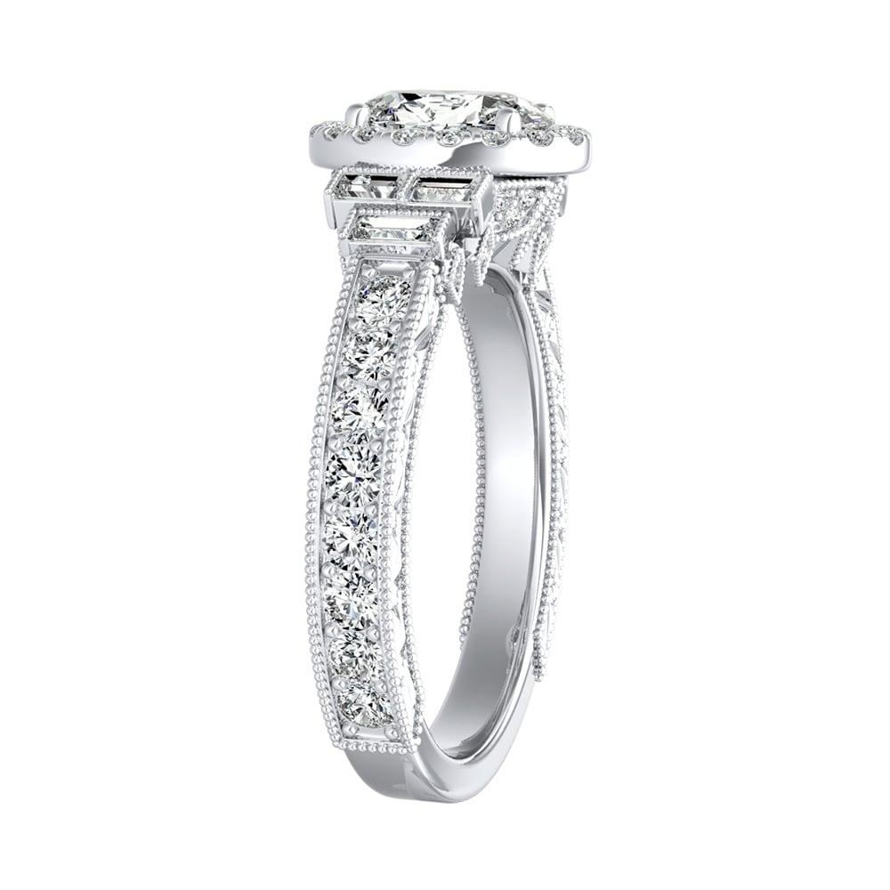 Art Deco 2.00 Ct Oval Cut Diamond Halo Engagement Ring 14k White Gold Finish