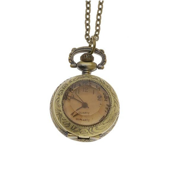 Steampunk Pocket Watch Pendant - Antiqued Brass -Small Topaz Glass Lid And Chain