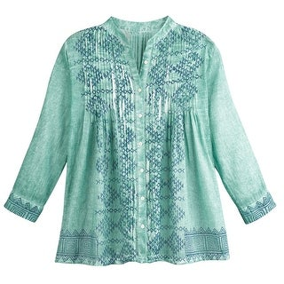 Women's Green Meadow Matching Shirt and Scarf Set - Button Down Top