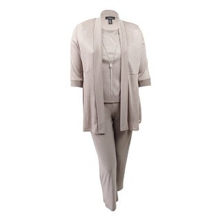 R&M Richards Women's Petite Metallic Pantsuit Set (14P, Champagne) - champagne - 14P