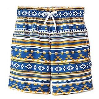 Azul Boys Blue Aztec Motif Print Drawstring Tie Swimwear Shorts