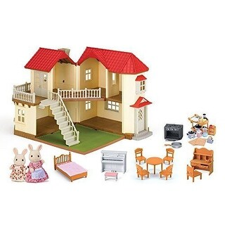 CALICO CRITTERS Cloverleaf TOWNHOME TOY, Kids 4 Large Room 50 Pcs DOLLHOUSE SET