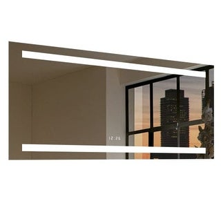 "Miseno MM5036LEDR 50"" W x 36"" H Rectangular Frameless Wall Mounted Mirror with LED Lighting and Digital Clock"