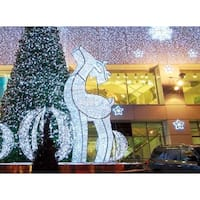 3.9' Giant Commercial Grade LED Lighted Waterloo Reindeer Christmas Decoration Display - White Lights - CLEAR