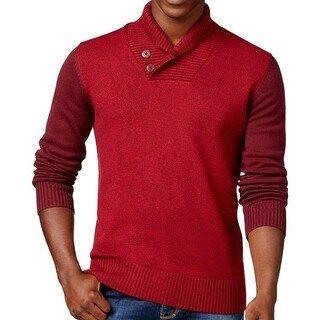 Sean John NEW Wine Red Mens Size 3XL Shawl Collar Marled Knit Sweater
