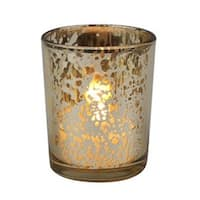 Rustic Glass Votive Candle Holders, Gold - Pack of 12