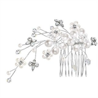 Bling Jewelry Imitation Pearls Crystals Bridal Tiara Comb Silver Plated