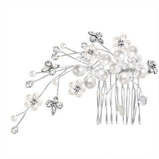 Bridal Hair Comb Wire Strung Crystal Headpiece White Imitation Pearl