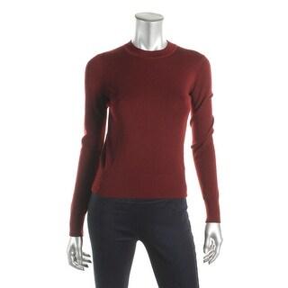 DKNY Womens Petites Crop Sweater Merino Wool Long Sleeves
