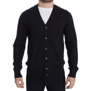 Dolce & Gabbana Dolce & Gabbana Mens Gray Wool Cardigan Sweater Pullover Top