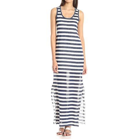 Michael Stars Womens Dress Blue Size Small S Linen Knit Striped Maxi