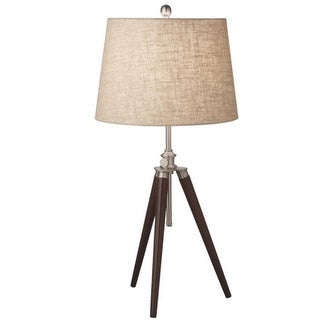 Pack of 2 Contemporary-Style Silver and Brown Tripod Table Lamps 39""