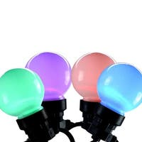 Set of 20 LED Multi-Color Color Changing G45 Globe Christmas Lights - Black Wire - multi