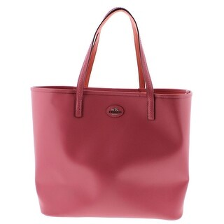 Coach Womens Leather Shopper Tote Handbag - loganberry/coral - Large