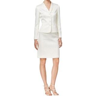 Tahari ASL Womens Skirt Suit Textured Faux-Pearl