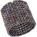 D'AMA 10 Strand Freshwater Cultured Pearl Womens Stretch Bracelet With Stainless Steel Beads - Thumbnail 4