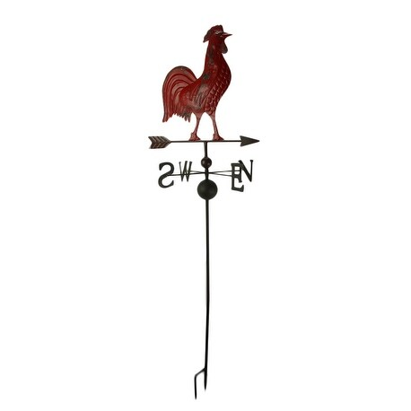 Rustic Red Metal Rooster Weather Vane Garden Stake