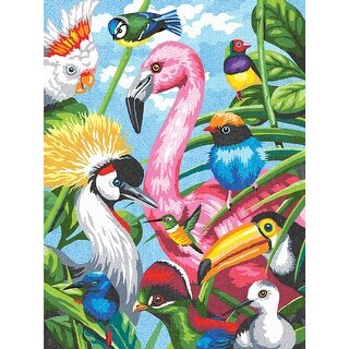 "Pencil Works Color By Number Kit 9""X12""-Tropical Feathers"