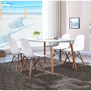 Vecelo Eames Side Chair With Natural Wood Legs ( Set of 4 )