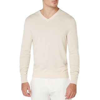 Bloomingdales Mens 2-Ply Cashmere V-Neck Sweater Large L Bone
