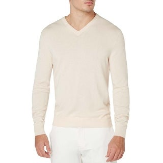 Bloomingdales Mens 2-Ply Cashmere V-Neck Sweater X-Large XL Bone