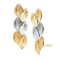 Eternity Gold Double Leaf Climber Earrings in 14K Two-Tone Gold