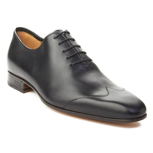 a91eba6842a Shop Gucci Men s Crossgrain Leather Oxford Dress Shoes Black - Free ...