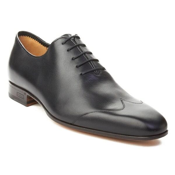 Gucci Men's Crossgrain Leather Oxford Dress Shoes Black