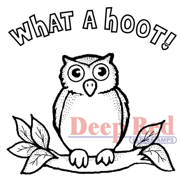 """Deep Red Cling Stamp 2""""X2""""-Hoot Owl"""