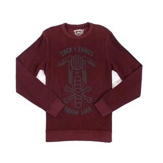 Jack & Jones NEW Red Wine Mens Size Large L Crewneck Printed Sweater