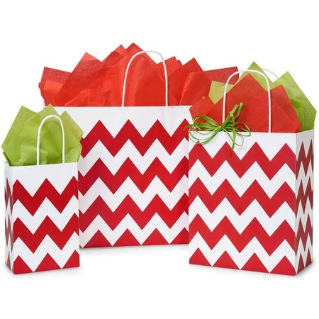 Pack Of 125, Assortment Chevron Stripe Red Recycled White Shopping Bags 50 Rose, 50 Cub & 25 Vogue Made In Usa