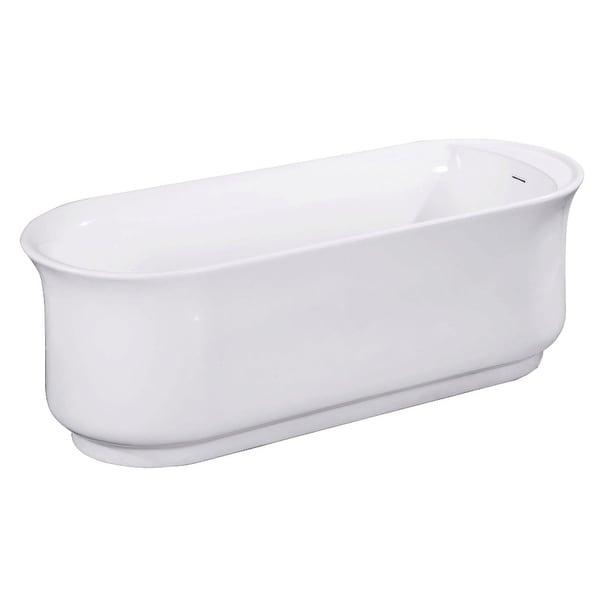 "Kingston Brass VTDR662723 Aqua Eden 65-15/16"" Soaking Bathtub for Free Standing Installations with Reversible Drain - White"